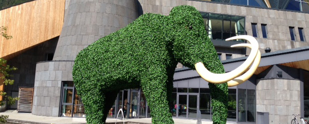 Mammut vor dem Mannschaftshotel. Foto: Ingo Durstewitz.