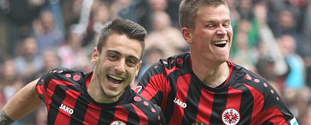 Joselu und Madlung freuen sich. Foto: Stefan Krieger.