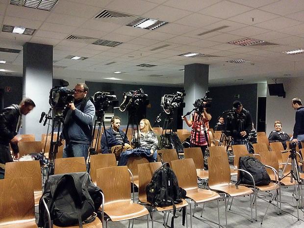 Presseraum im Waldstadion.