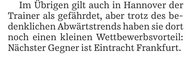 """Quelle: Süddeutsche Zeitung vom heutigen Montag, Kommentar zum Abstiegskampf, Titel: """"In der Druckkammer"""""""
